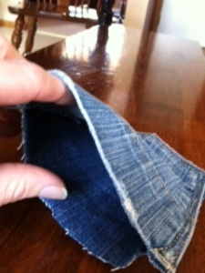 Inside of denim pocket