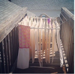 Don't you just love freshly washed diapers on the clothesline?