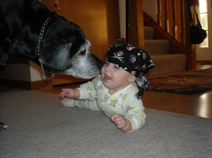 That's my kid AND my Labradoodle. Just kidding, she's a lab-boxer.